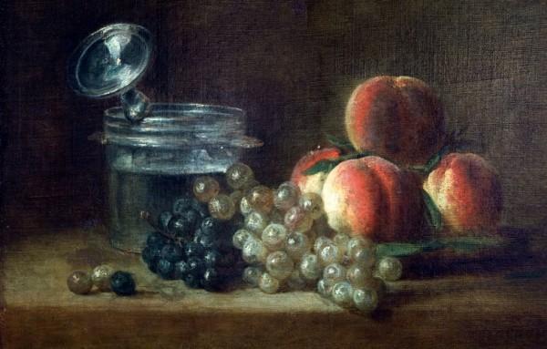 Jean-Baptiste Siméon Chardin, Le panier de pêches, raisin blanc et noir