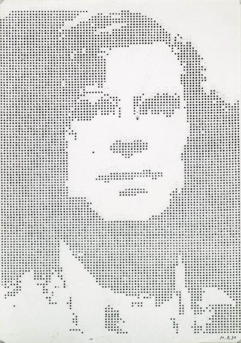 Markus Raetz, Bildnis des Künstlers als Schreibmachinist (Portrait de l'artiste en machiniste à écrire), 1970, Dactylographie, 273× 203 mm