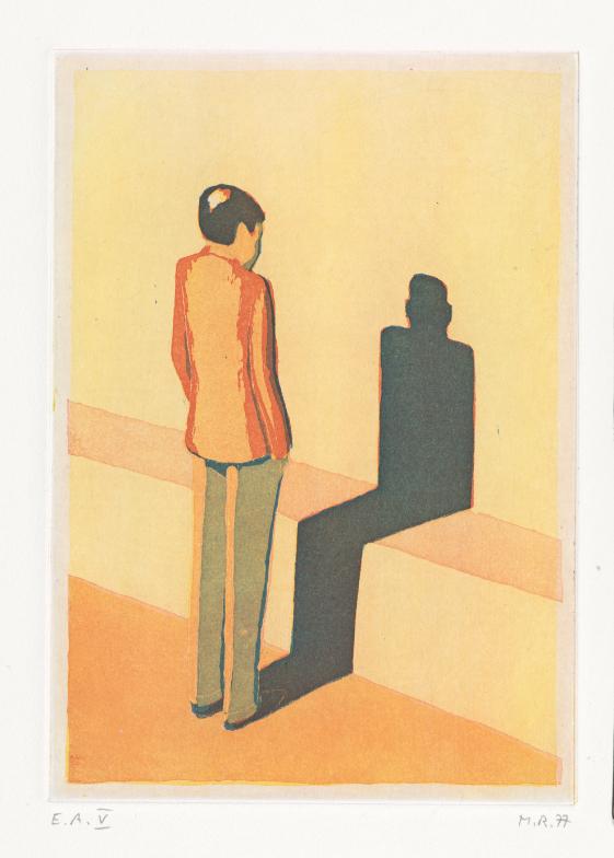 Raetz_Männliche Figur, ihren Schatten betrachtend, (Figure masculine considérant son ombre), 1977, Aquatinte en couleur, 210 × 146 mm