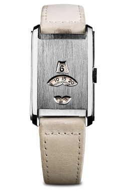 Girard Perregaux 1935 (© Girard Perregaux, La Chaux-de-Fonds) Example of a 'jump watch' - because the time segments 'jump' in packs of combined lengths. This 1935 Art Nouveau wrist watch has three windows, one for hours, one for minutes that jump every five minutes and a third one for seconds that jump every ten seconds.