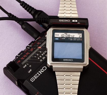 Seiko, watch with a radio and television receiver, Japan 1982 (© Musée International d'Horlogerie, La Chaux-de-Fonds) The Japanese manufacturer did not wait for the digital age to experiment with a watch that could receive radio and television, as well as tell the time.