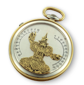 Vacheron Constantin, Genève, 1930, pocket watch (© Vacheron Constantin) By pressing on the side button, the arms of the Chinese figure fly into position to tell the right time, the right arm for the hour and the left arm for the minutes.