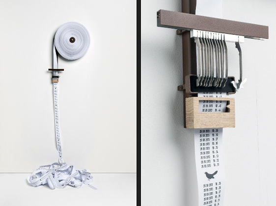 Wendy Gaze & Arnaud Imobersteg: Semaphore, 2013 © Sandra Pointet, HEAD-Genève) As the paper roll unwinds, time is printed out minute by minute, until the hour when a cuckoo 'sings' on the paper.