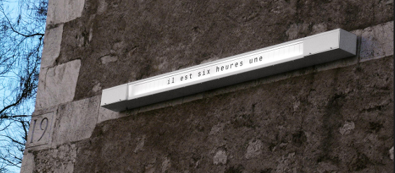 Nicolas Le Moigne: Quelle heure est-il (What time is it?), 2004 (© ECAL/Jordi Pla)  A graduate of Lausanne University of Art and Design (ECAL), Le Moigne turns simple ideas into sophisticated objects. This clock takes a literary and literal view of time which it spells out word by word, forcing us to slow down.