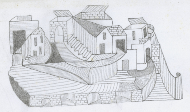 Jacqueline Fromenteau (1925-1976), French/Swiss, depicts architectures where roofs, facades and stairs blend together: untitled, undated black pencil on paper, 22 x 16 cm Photo : Caroline Smyrliadis, Adn-VdL Collection de l'Art Brut, Lausanne