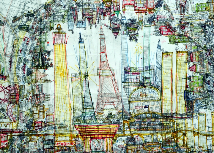 Norimitsu Kokubo (1995), Japanese, his drawings are like travelogues in imaginary cities: untitled (detail), undated, lead pencil and coloured pencil on paper, 58 x 43 cm, Collection de l'Art Brut, Lausanne