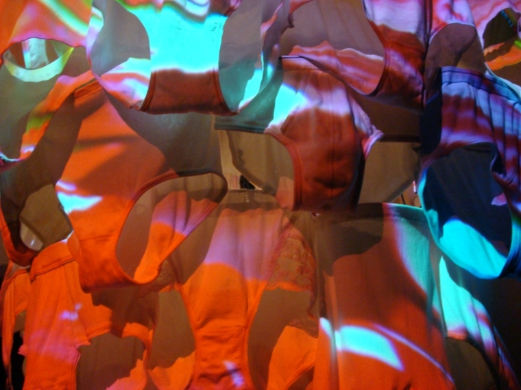 Pipilotti Rist, Cape Cod Chandelier, 2011 (detail of knickers!) Video installation, Courtesy the artist, Hauser & Wirth and Luhring Augustine, Photo Michele Laird