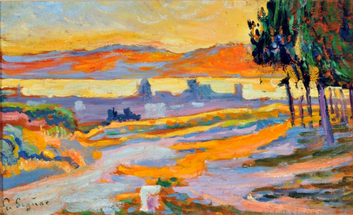 Paul Signac Soleil couchant sur la ville (étude), 1892 collection privée © photo Maurice Aeschimann