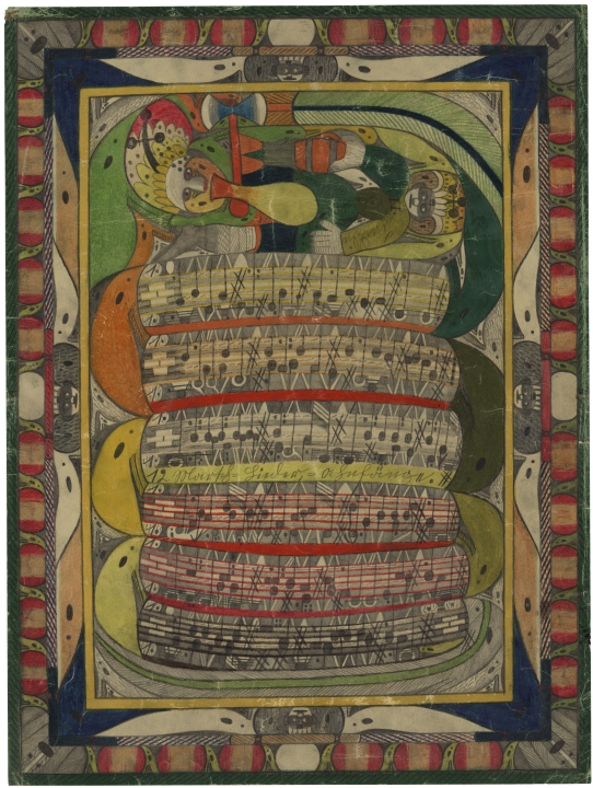 Adolf Wölfli Saint Adolf mordu à la jambe par le serpent, 1921, AN Collection de l'Art Brut, Lausanne © Marie Humair
