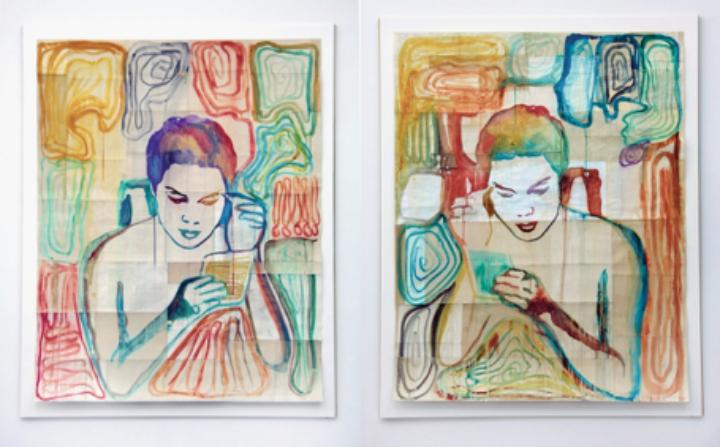 Ulla von Brandenburg, Sich schminkender Mann 1 & Mann 2, 2015 © 2016, Musée Jenisch Vevey et Nestlé S.A. © 2016, Ulla von Brandenburg