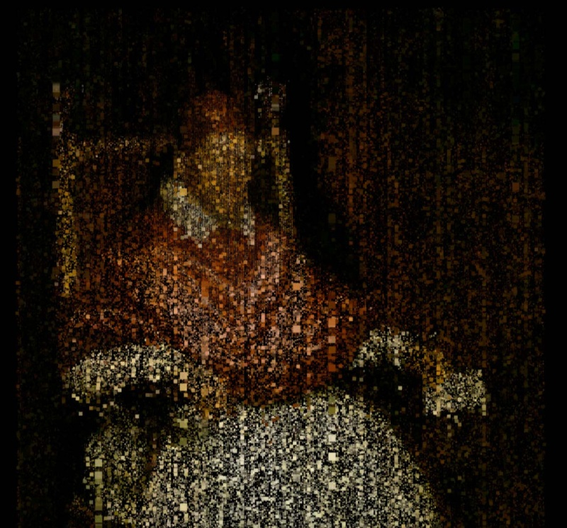 Matt Collishaw, The End of Innocence, portrait of Pope Innocent X as digital rain