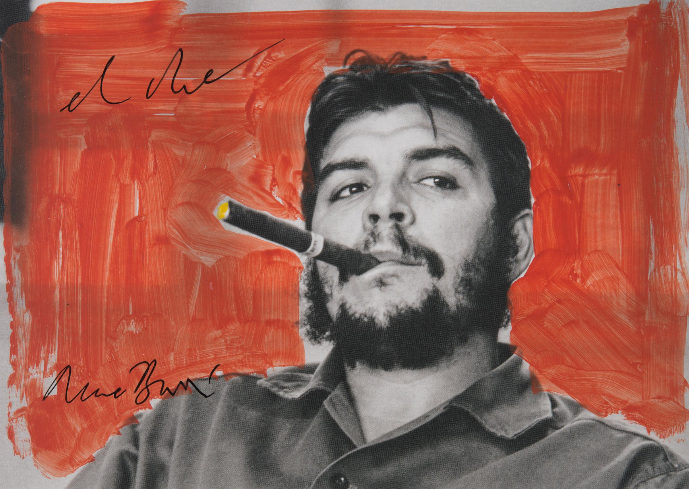 EL Che, carton d'invitation peint et signé par René Burri.